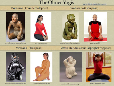 Olmecs figurines in yogic postures - Vajrasana, Simhasana, Virasana, Uttan Mandukasana