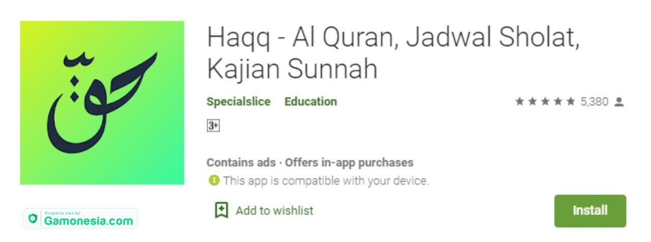 Haqq - Al Quran, Jadwal Sholat, Kajian Sunnah