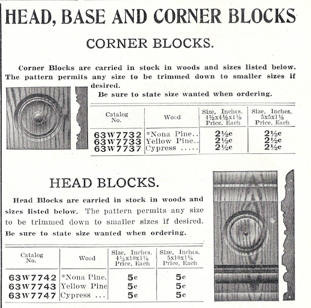 black and white rendering of corner block trim from Sears