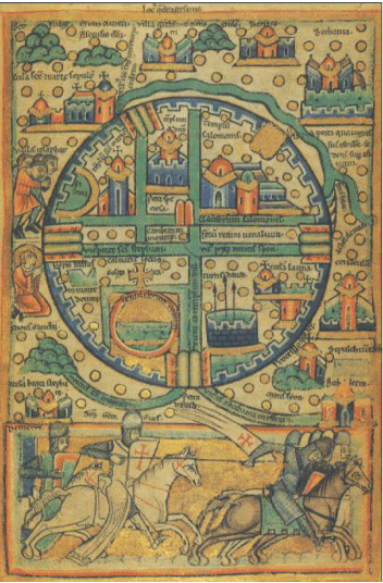 """Peta Yerusalem pada abad 12.(Sumber: James S Aber Slide # 205FF) Sejarah Pembuatan Peta Dan Peta Model """"T-O"""""""
