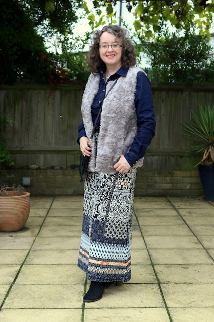 How to style your maxi skirt for Autumn, Denim Shirt, Faux Fur Gilet | Petite Silver Vixen