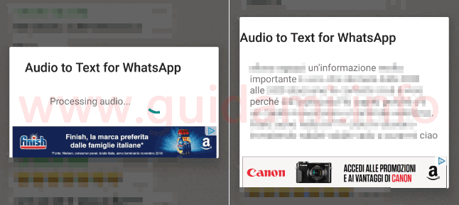 Testo trascritto da messaggio vocale WhatsApp con app Android Audio to Text per WhatsApp