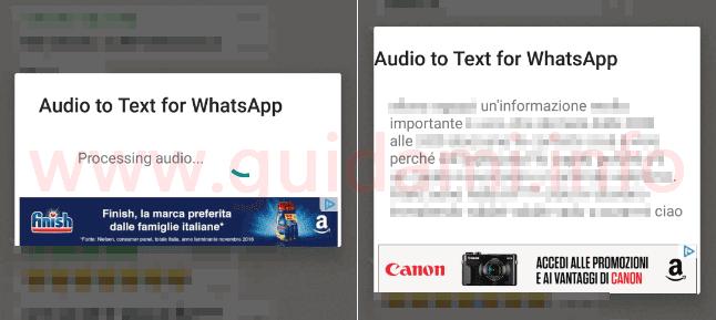 Testo trascritto da messaggio vocale WhatsApp con app Android Audio to Text per WhatsApp