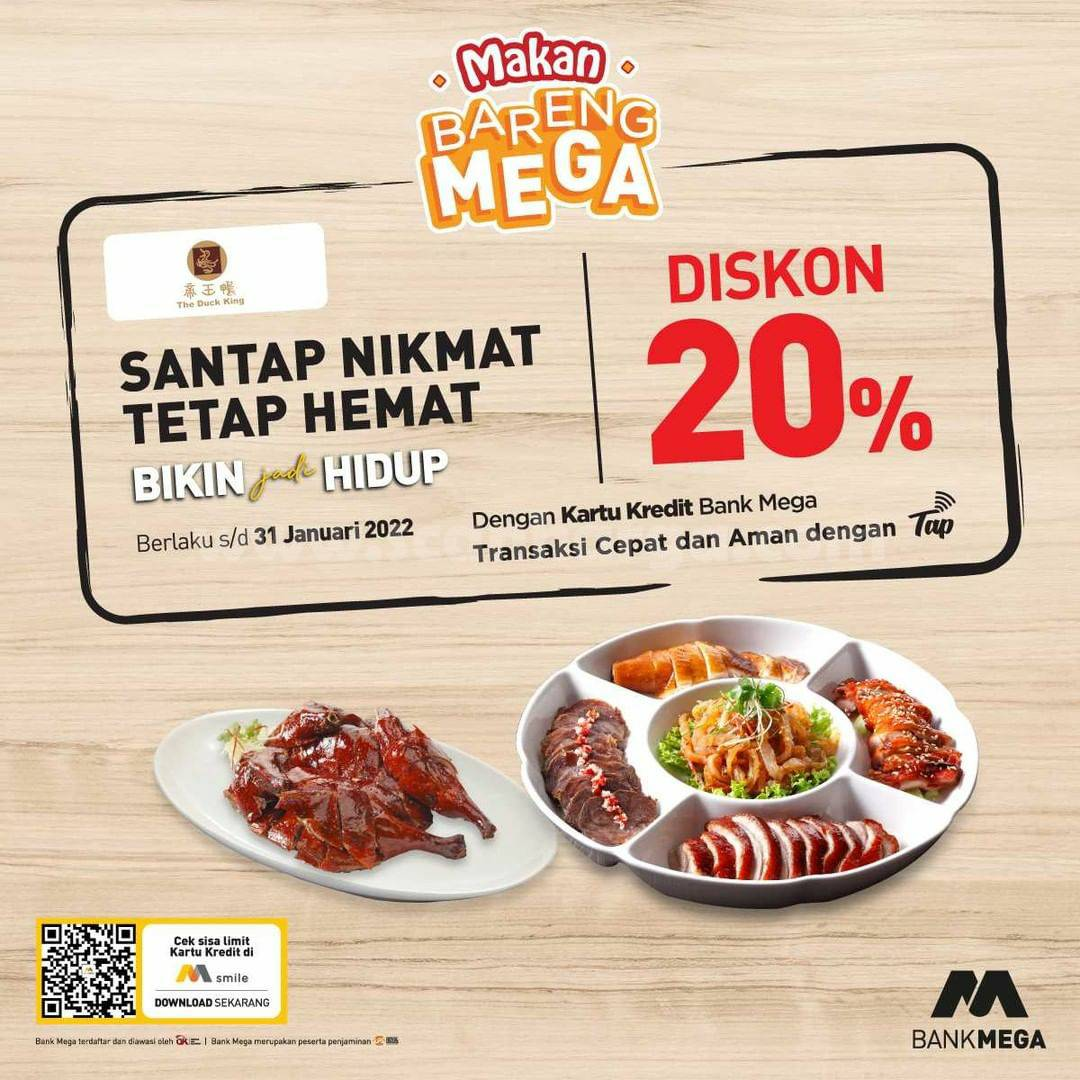 Promo THE DUCK KING DISKON 20% dengan Kartu Kredit Bank Mega
