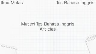 Materi Tes Bahasa Inggris Articles