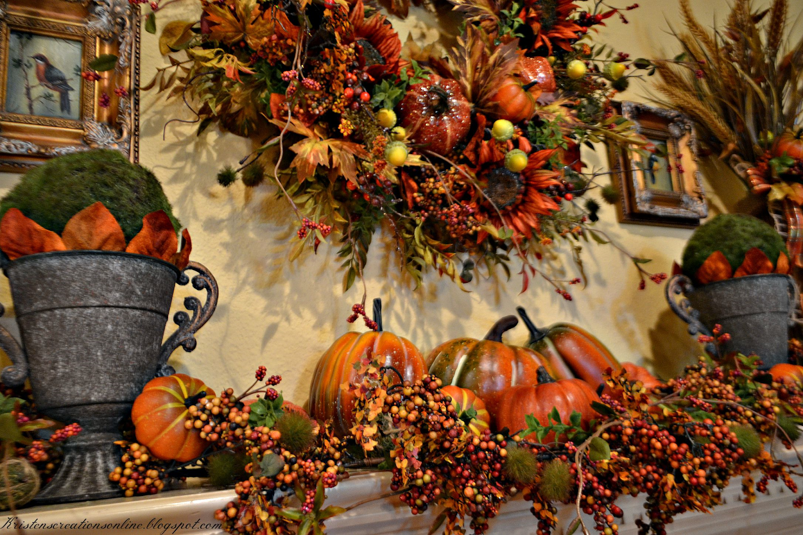 Kristen S Creations Fall Mantel 2015