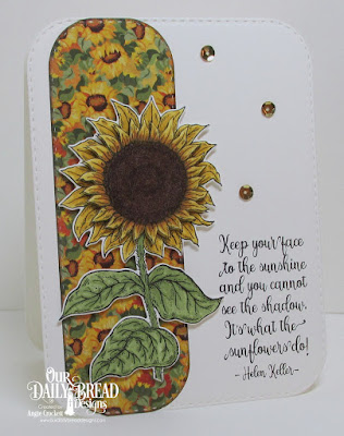 ODBD Be A Sunflower, ODBD Custom Sunflower Die, ODBD Custom Double Stitched Rounded Rectangles Dies, Card Designer Angie Crockett