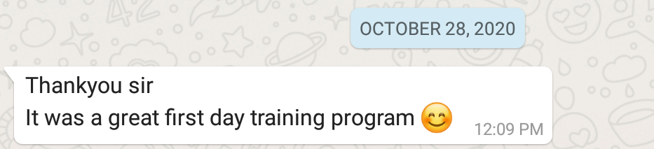 Thankyou sir It was a great first day training program