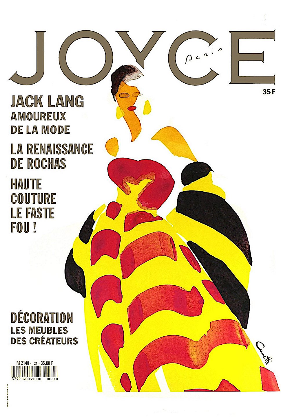 a Michel Canetti 1985 fashion illustration for Joyce Magazine in red yellow black