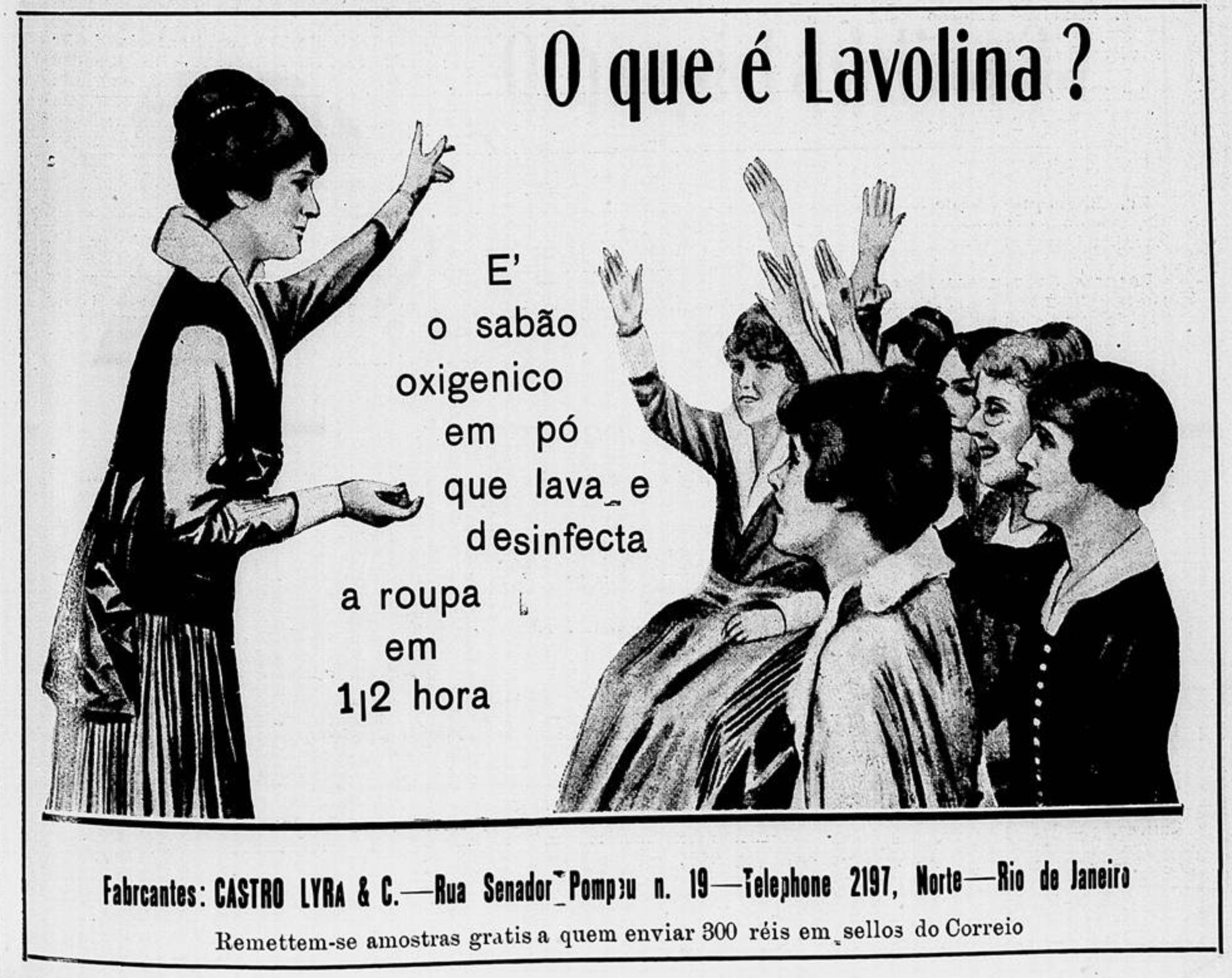 Anúncio de 1915 apresentando as vantagens do Sabão Lavolina