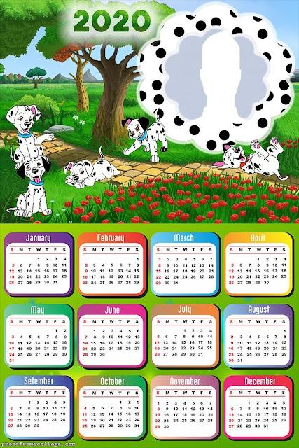 101 Dálmatas: Calendario 2020 para Imprimir Gratis
