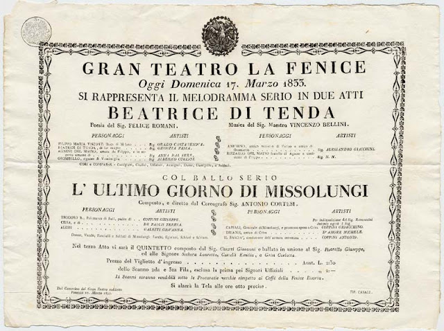 Poster for the premiere of Bellini's Beatrice di Tenda at La Fenice, Venice in 1833