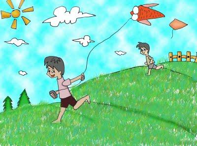 Gambar Kartun Anak Main Layang Layang Brad Erva Doce Info