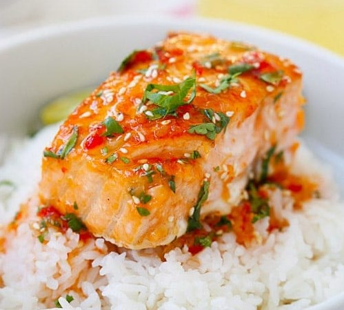 SWEET CHILI SALMON #dinner #lunch