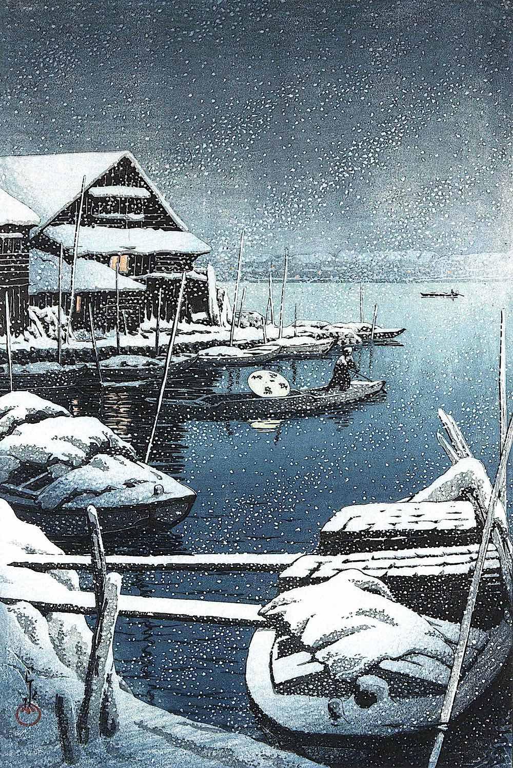 Kawase Hasui harbour docks in winter snow