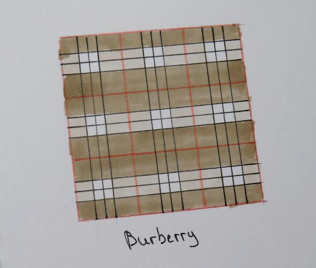 Se muestra el resultado final de cómo quedaría un estampado de cuadros Burberry dibujado en papel desde una perspectiva diferente