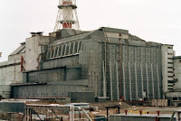 A photograph of the Chernobyl nuclear reactor after the accident that occured on April 26, 1986.