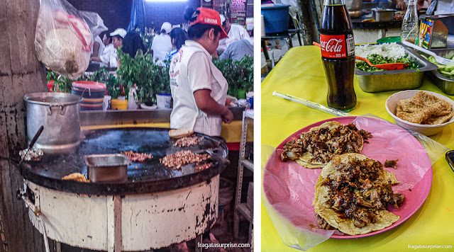 Carnitas na chapa, prato típico do México no Mercado de Coyoacán, Cidade do México