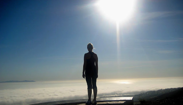 Above the Clouds - Alex atop Palos Verdes - clouds covering ocean below - image by lb for linenandlavender.net - http://www.linenandlavender.net/2013/10/courage-and-fear.html