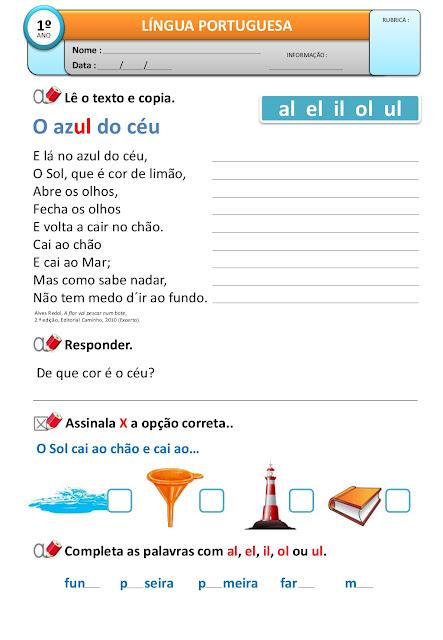 Palavras com al el il ol ul atividades