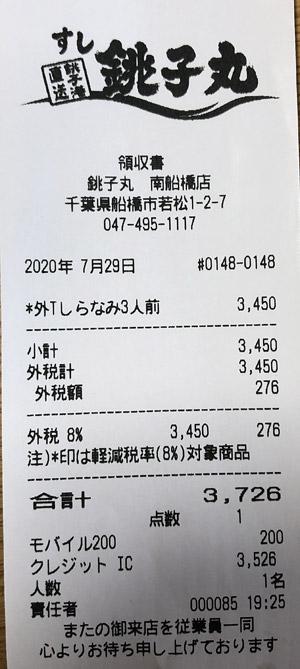 すし銚子丸 南船橋店 2020/7/29 のレシート