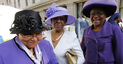 Black women wearing Easter hats