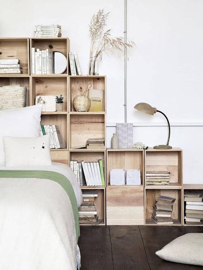 cabeceros de cama con cajas de madera