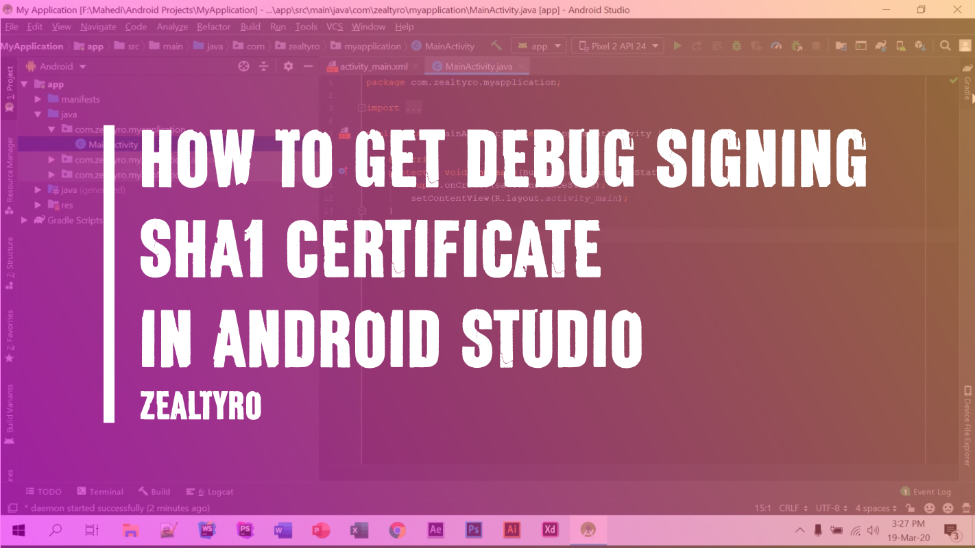 Get Debug Signing SHA1 Certificate in Android Studio