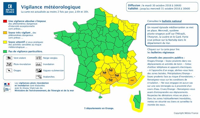 L'Hérault placé en Vigilance Orange