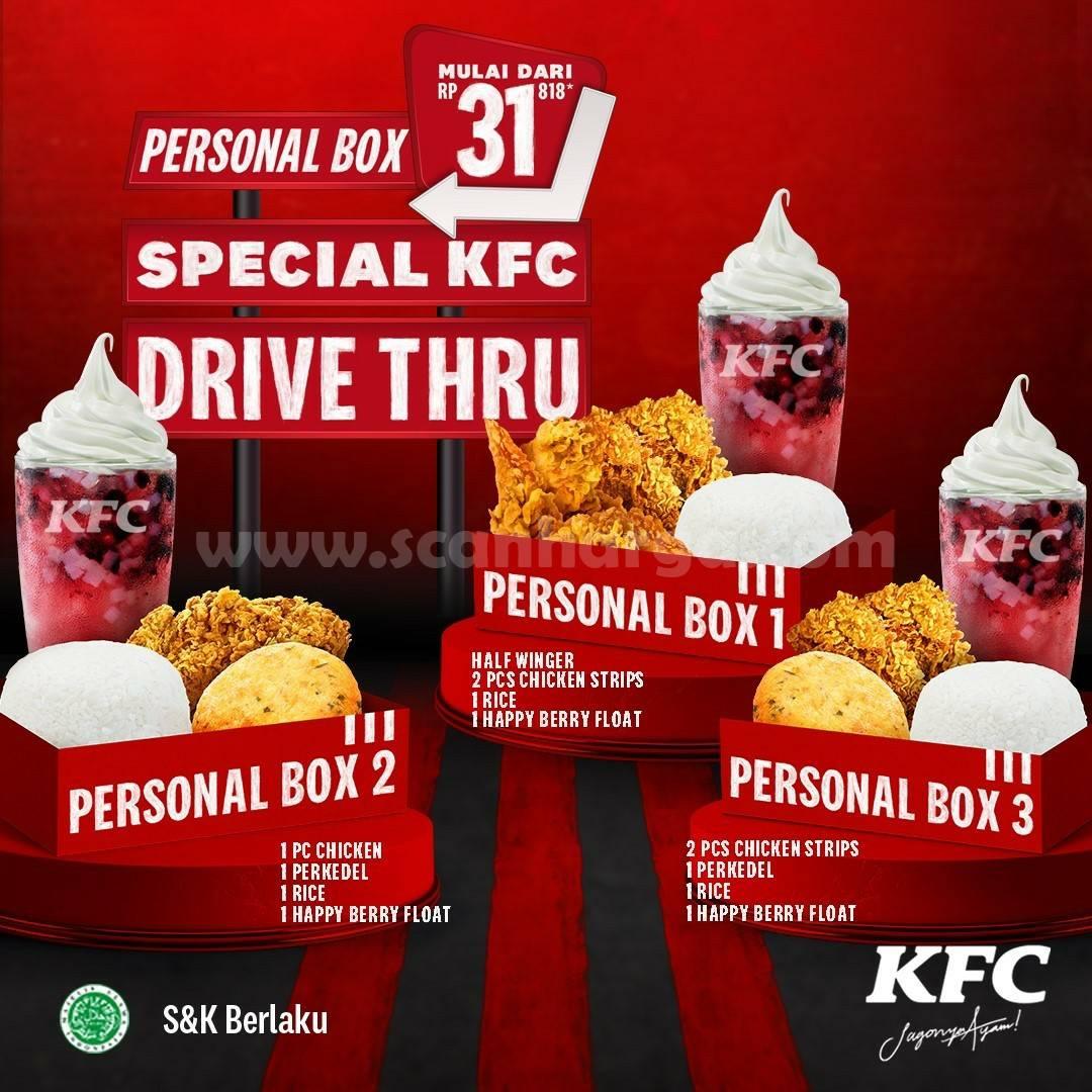 KFC Promo SPECIAL DRIVE THRU! Paket PERSONAL BOX Harga mulai Rp.31.818