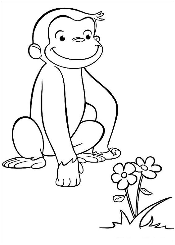 Hình tô màu con khỉ và bông hoa