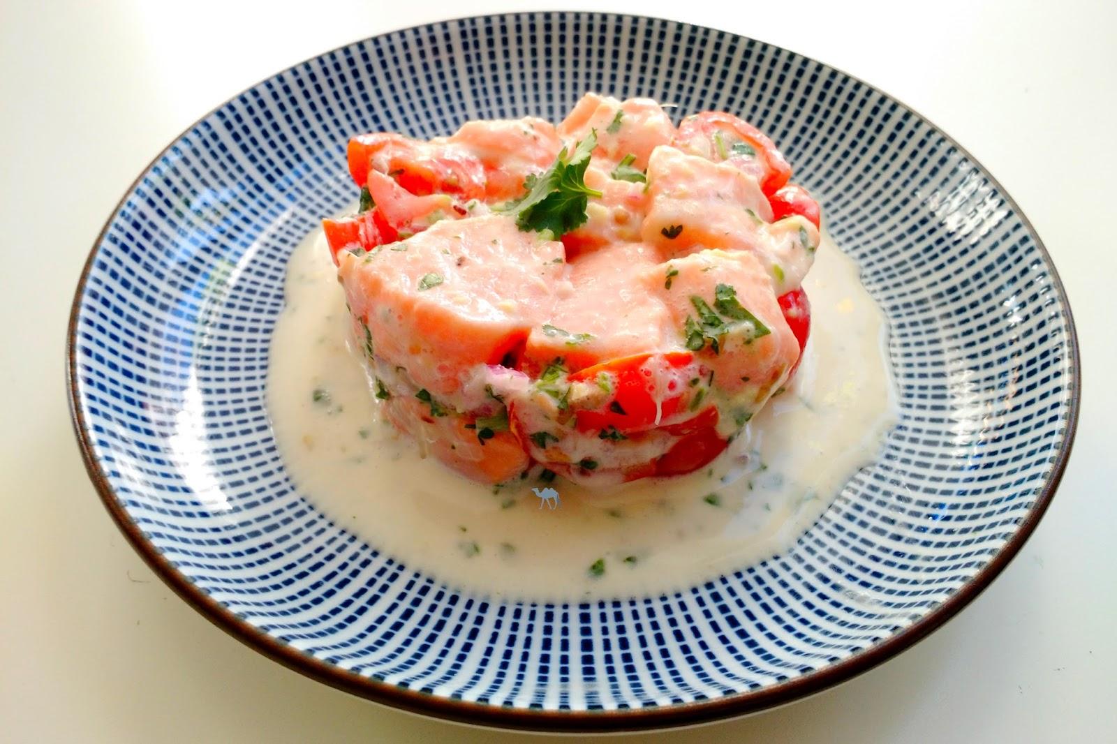 Le Chameau Bleu - Blog Cuisine et Voyage - Recette de Tartare de Saumon à la tahitienne