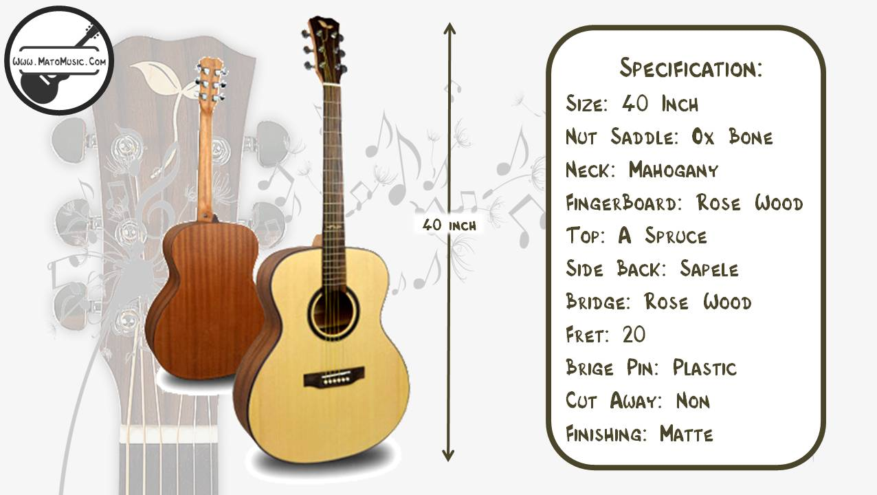 Yadars LA530 Om Size Acoustic Guitar With Solid Spruce Top Specification
