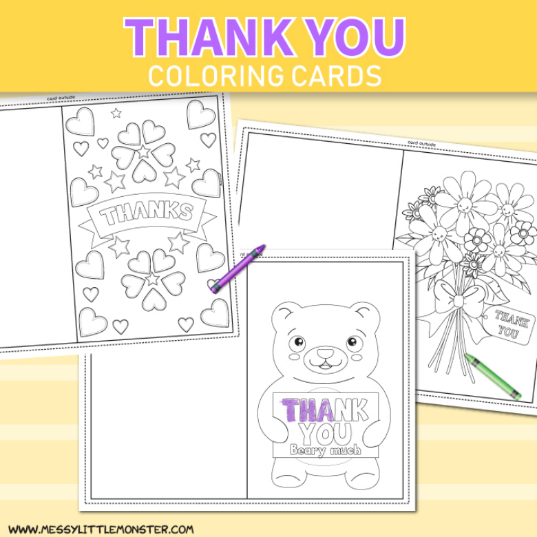 photograph about Printable Cards for Kids named Printable Colouring Thank Your self Playing cards for Little ones - Messy Small