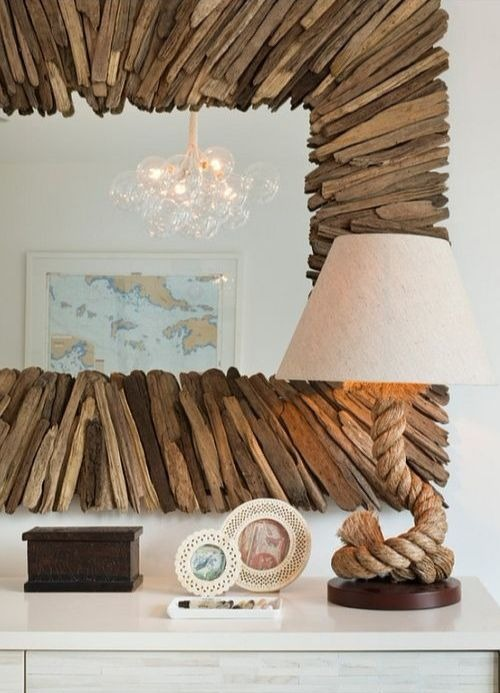 Large Currey and Co Driftwood Mirror