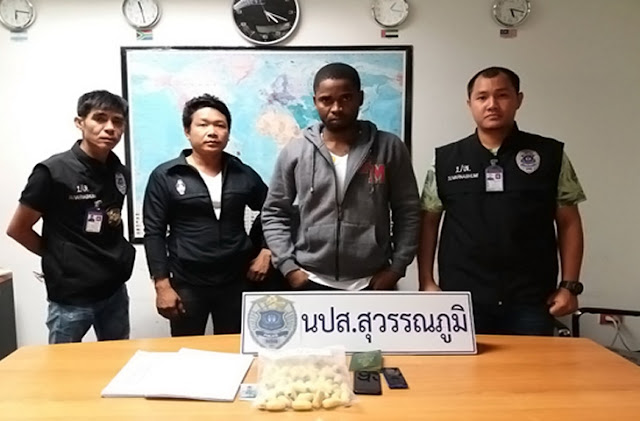 Photos: 25-year-old South African woman and Ivorian man arrested for drug smuggling at Suvarnabhumi Airport, Bangkok