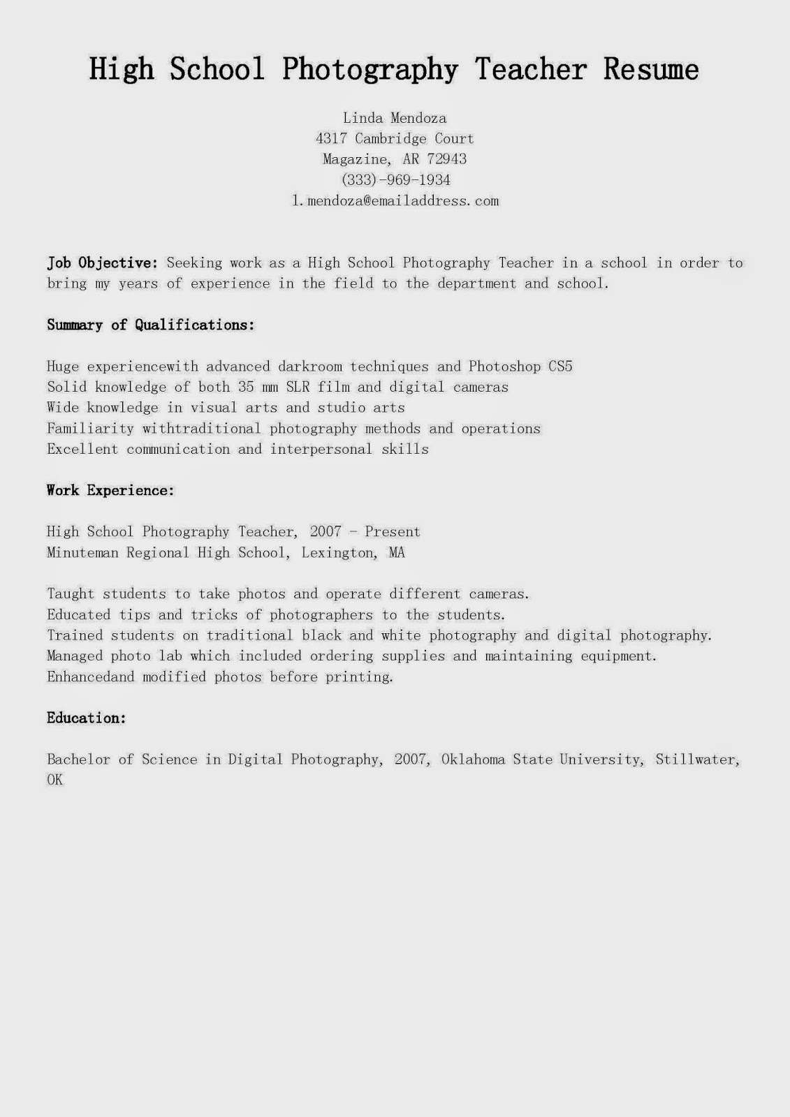 Photography Resume Samples Resume Samples High School Photography Teacher Resume Sample