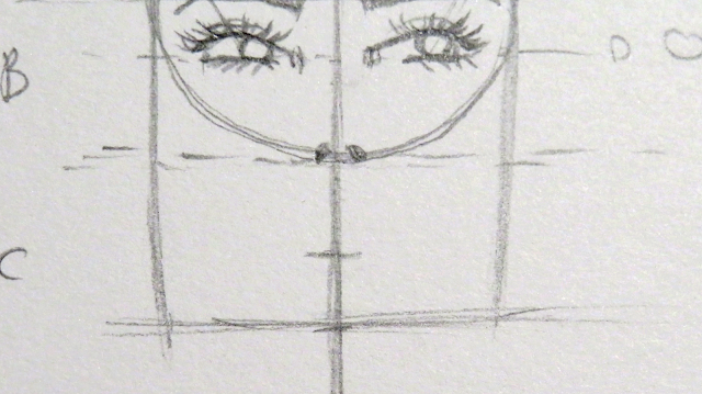 Dibujo de las fosas nasales y marca que divide la parte tres a la mitad