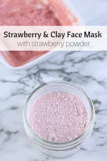 Face mask recipe for strawberry and clay.  Learn how to make face mask and which essential oils and carrier oils to add for our skin type.  DIY face masks like this help exfoliate and nourish your skin.  DIY face mask recipes for natural beauty.  This easy diy face mask can be premade as a powder.  Then add the liquid when you want to use this face mask homemade.  #strawberry #clay #beauty #diybeauty #naturalbeauty #facemak