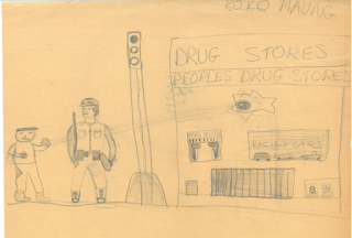 Pencil drawing by an junior high school student depicting a Black protester hurling a rock through the front window of a store in front of an armed military personel.