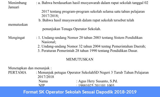 Format SK Operator Sekolah Sesuai Dapodik 2018-2019