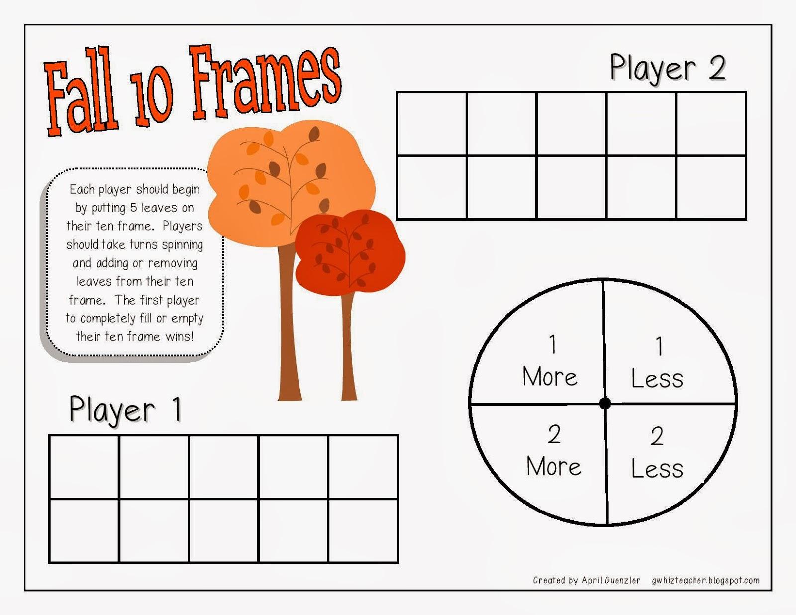 Fall Ten Frame 1st Grade Worksheet