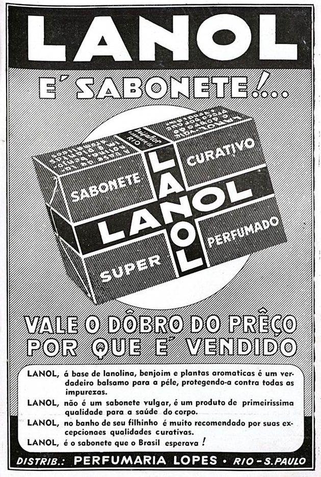 Propaganda antiga do Sabonete Lanol veiculada em 1938
