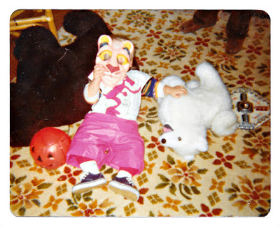 Me (as the Pink Panther) on Halloween at 19 Ramona Avenue in Piedmont, California in 1979