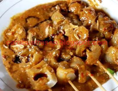 Foto Resep Sate Kikil Sapi atau Cecek Bumbu Kacang Pedas Sederhana Spesial Asli Enak