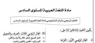 تقويم تشخيصي في اللغة العربية المستوى السادس