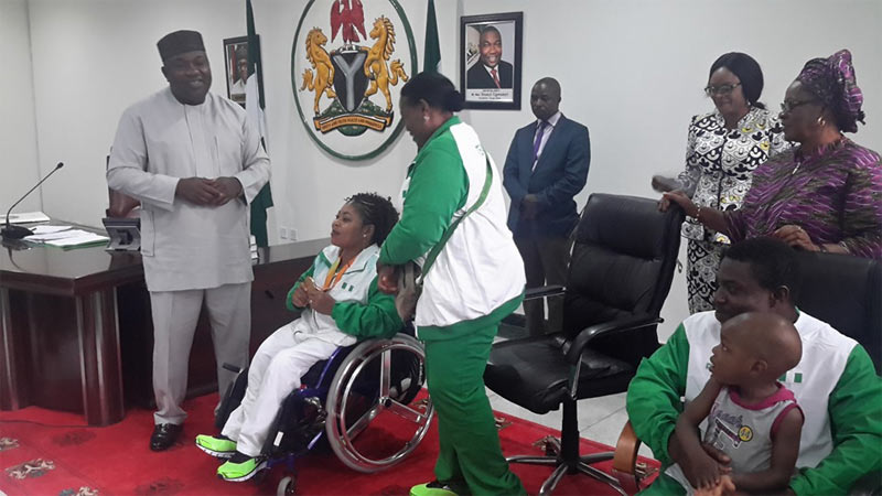 Ugwuanyi gifts Enugu-born 2016 Paralympic gold medalist plot of land, N1m