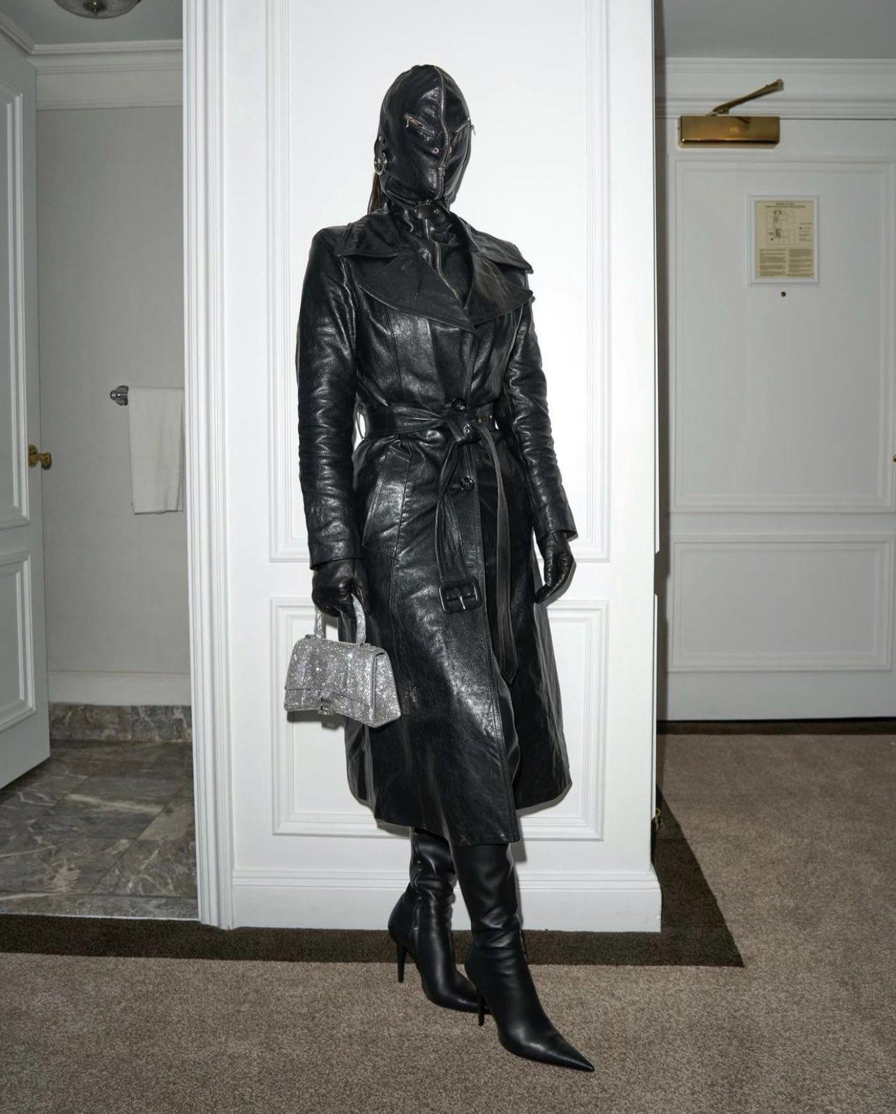 Kim Kardashian is kinky in fetish leather mask in NYC