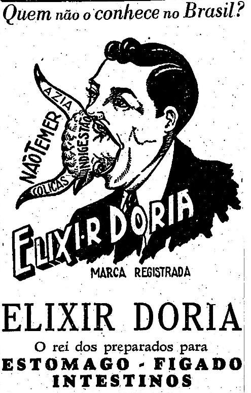 Propaganda do Elixir Doria veiculado nos anos 30 para combater males estomacais