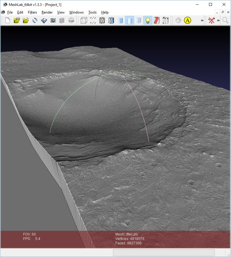 Planetary GIS: DEM raster to 3D PLY format